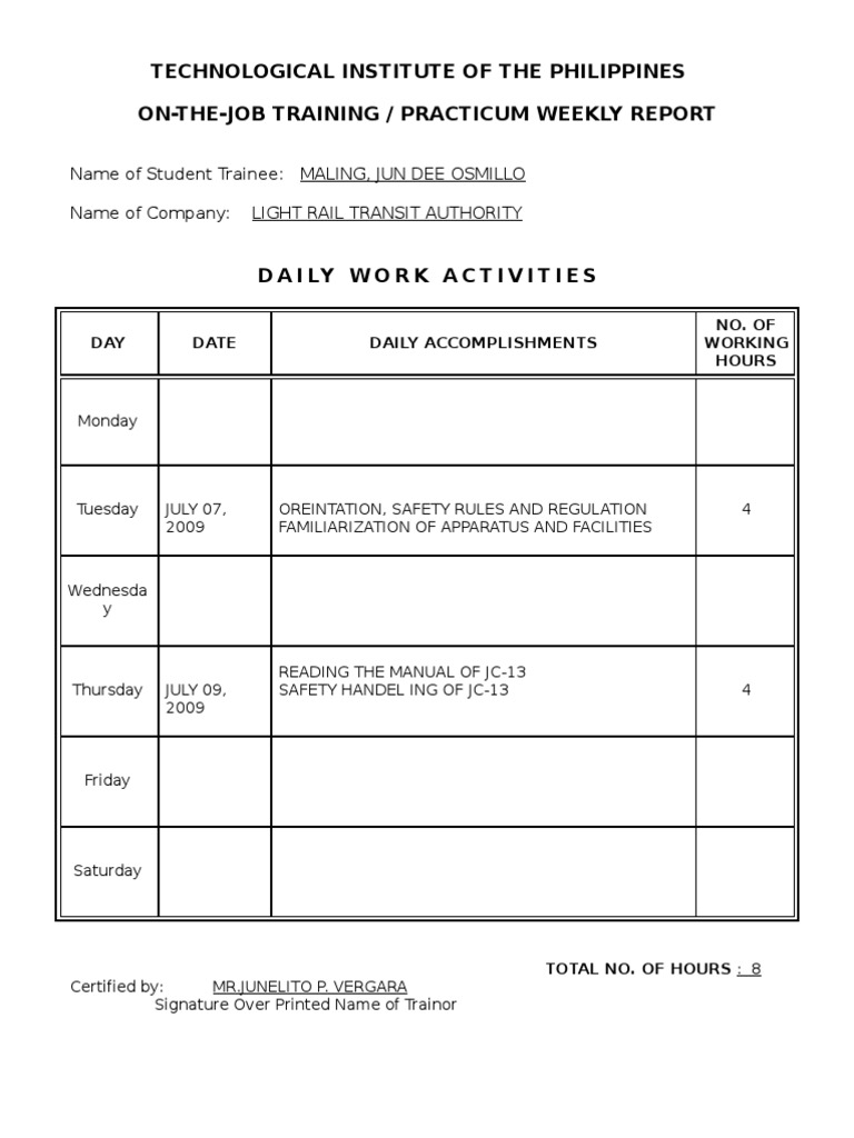 How To Write A Weekly Report Template Ojt Practicum Weekly Report