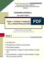 Economia española. Etapas y rasgos de la Industrialización en España