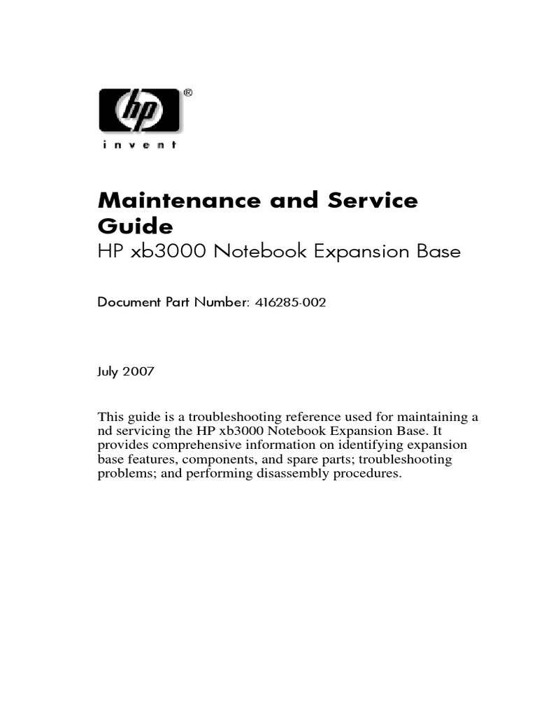 Maintenance and service guide hewlett-packard pages 1 50.