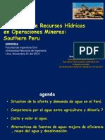 Uso de Agua en Mineria , UNI Nov 2012