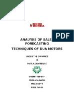 Analysis of Sales Forecasting Techniques of Dua Motors