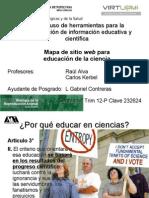 Mapa de sitio web para educación de la ciencia
