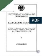 Reglamento de Practicas Preprofesionales y Formatos 20130715