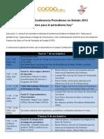 """Agenda de la Conferencia Periodismo en Debate 2013 """"Retos para el periodismo hoy"""""""