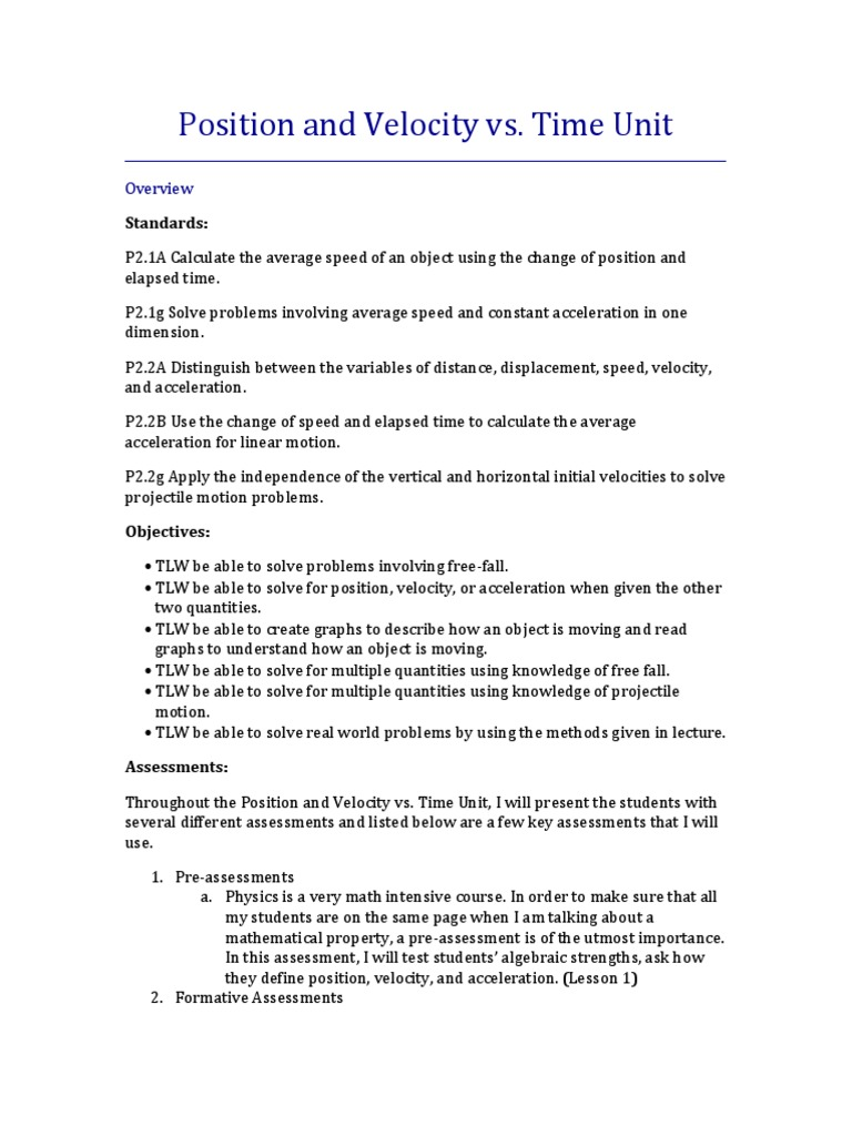 Position and velocity lesson plan acceleration educational position and velocity lesson plan acceleration educational assessment robcynllc Images