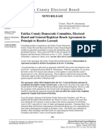 Fairfax County Electoral Board Announces Agreement in Principle To Resolve Lawsuit By Fairfax County Democratic Committee