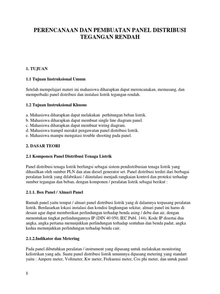 Perencanaan dan pembuatan panel distribusi tegangan rendahcx ccuart Choice Image