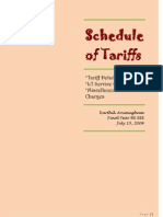 Schedule of Tariffs