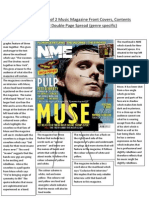 detailed analysis of 2 music magazine front covers contents page and double page spread