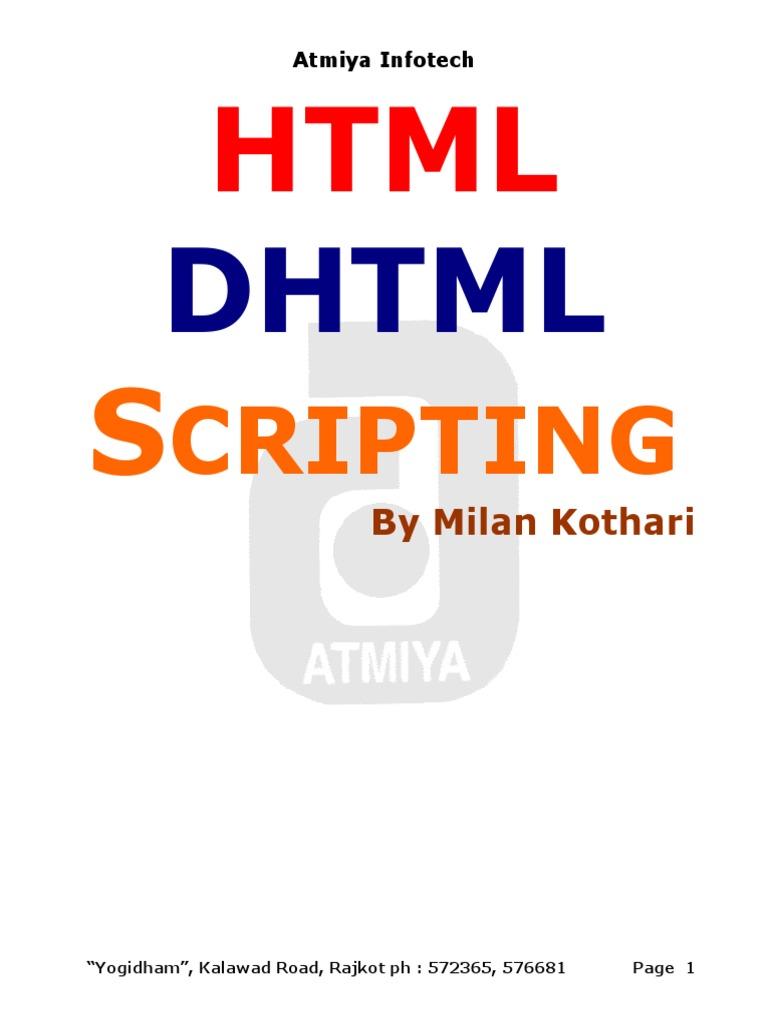 HTML , Dhtml , Java Script (1) | Html Element | Html