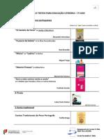 LISTA DE OBRAS E TEXTOS PARA EDUCAÇÃO LITERÁRIA 7º ano