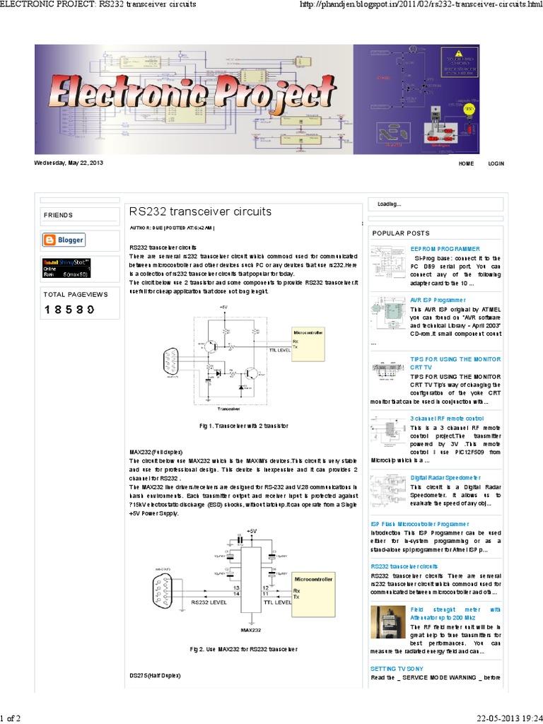 Electronic Project Rs232 Transceiver Circuitspdf Microcontroller Class D Amplifier For Attiny15l Circuit Design Digital Electronics