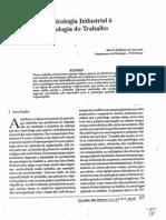 Texto Psic. Org. Trabalho - AZEVEDO, MA - Da Psicologia Industrial à Psicologia do Trabalho