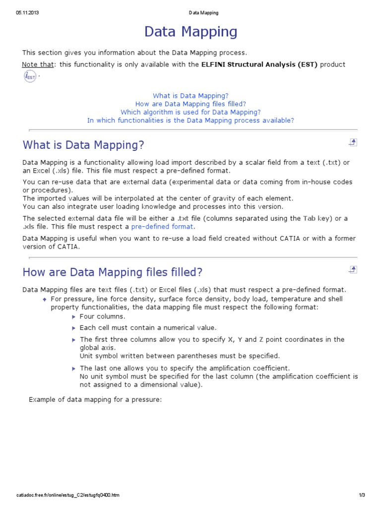 Data Mappingpdf Microsoft Excel Center Of Mass - Data mapping definition