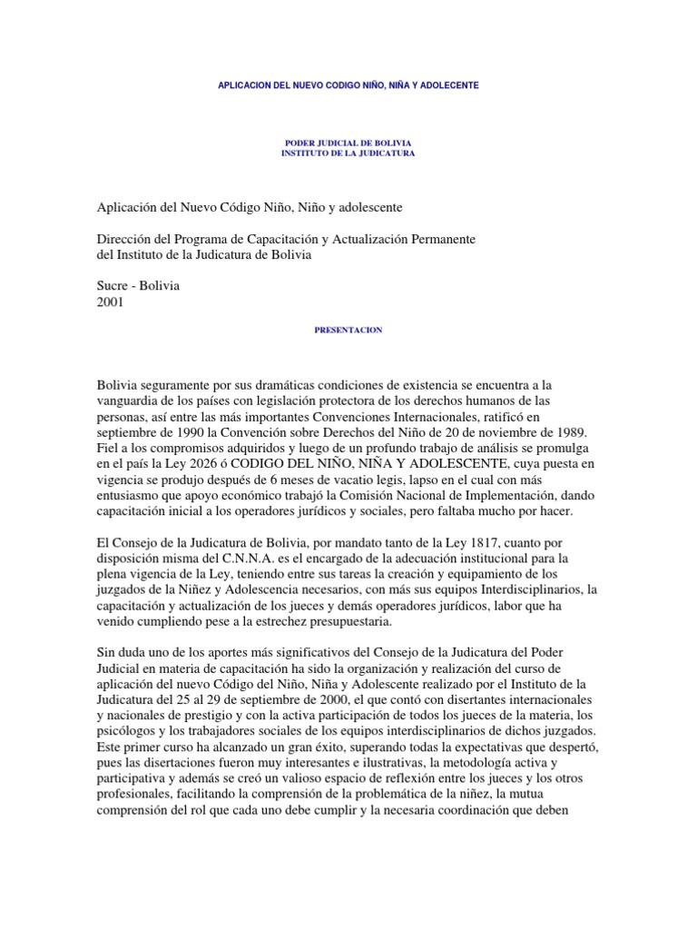 Aplicación del Nuevo Código Niño, Niña, Adolescente - Instituto de ...