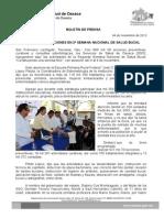 04/11/13 Germán Tenorio Vasconcelos MÁS DE 600 MIL ACCIONES EN SEGUNDA SEMANA NACIONAL DE SALUD BUCAL 2013