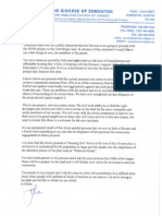 The Diocese of Edmonton letter to members