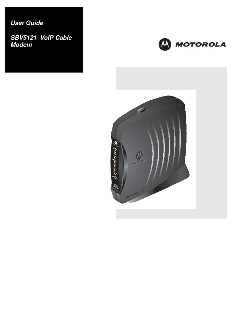 Top and front panel, key light flashing on   motorola sbv5121 user.
