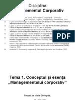 """Tema 1 Conceptul şi esenţa  """"Managementul corporativ"""