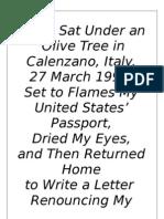 Why I Sat under an Italian Olive Tree & Burnt My United States' Passport