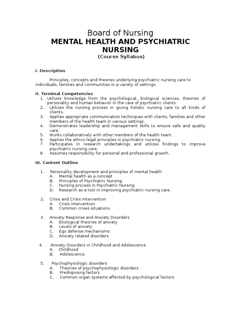 Course Syllabus For Mental Health And Psychiatric Nursing
