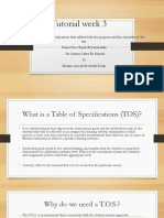 Table of specification