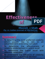 Effectiveness of Celebrity Endorsement - Research