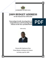 St. Lucia, 2009 Budget Address for the Financial Year 2009/2010, April 2009