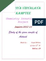 Chemistry Investigatory Project On Antacids.