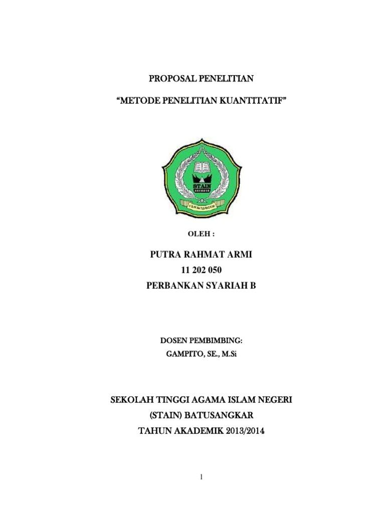 Contoh Proposal Skripsi Ekonomi Syariah Kuantitatif