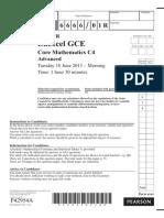June 2013 - Question Paper - Core Mathematics C4R