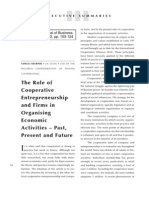 The Role of Cooperative Enterpreneurship and Firms in Organising Economic Activities