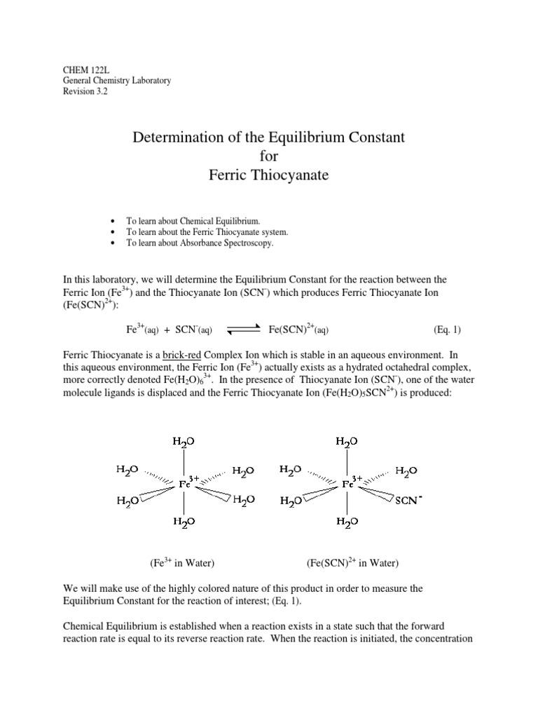 Ferric Thio Cyan Ate Chemical Equilibrium Ultravioletvisible