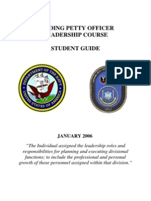 Leading Petty Officer Leadership Course Student Guide