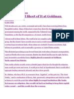 Goldman Sachs Subprime Culpability