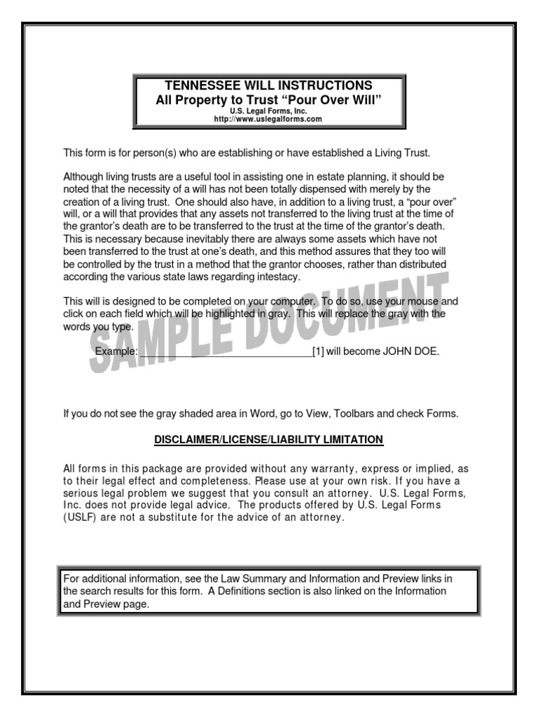 TN Pour Over Will Sample Will And Testament Executor - Tennessee legal forms