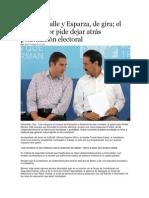 11-07-2013 Puebla on Line - Moreno Valle y Esparza, de gira; el gobernador pide dejar atrás polarización electoral