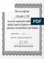 Supreme Court Mediator Certification Certificate