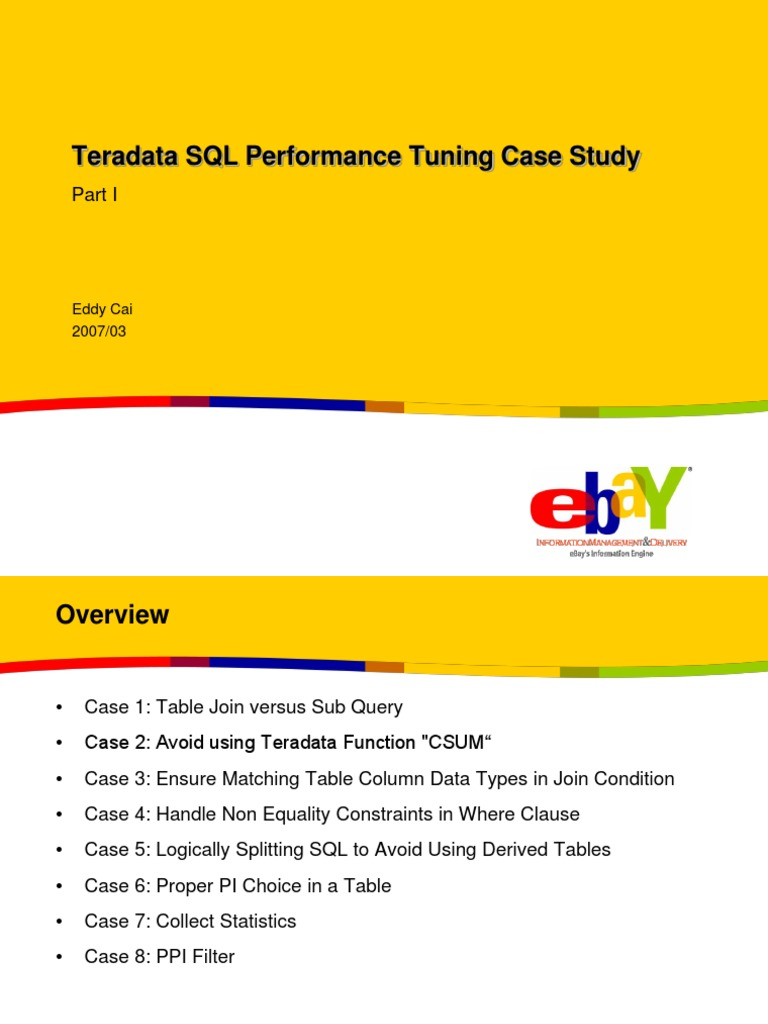 Teradata+SQL+Performance+Tuning+Case+Study+Part+I ppt | Sql