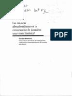 6. Bermúdez, Egberto. Las músicas afrocolombianas en la construcción de la nación, una visión Histórica.