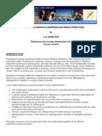 Maintenance Planning Underground Mining Operations