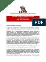 Informe Asamblea Nacional 19 Octubre 2013