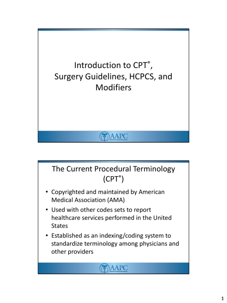 IntroToCPT pdf | Surgery | Clinical Medicine