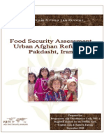 Food Security Assessment of Urban Afghan Refugees in Pakdasht, Iran