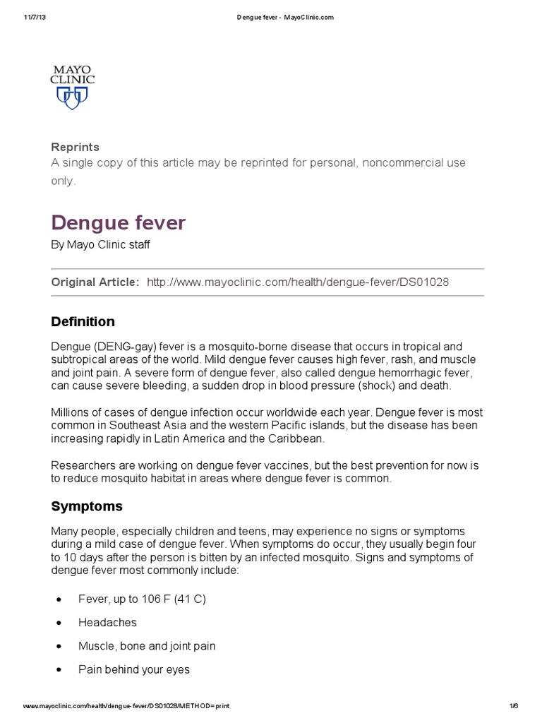 Dengue fever - MayoClinic pdf | Fever | Infection