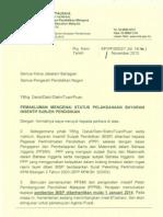 Surat Pembatalan Bayaran BISP Mulai 1 Januari 2014