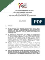 Declaration- 13th Melaka International Youth Dialogue