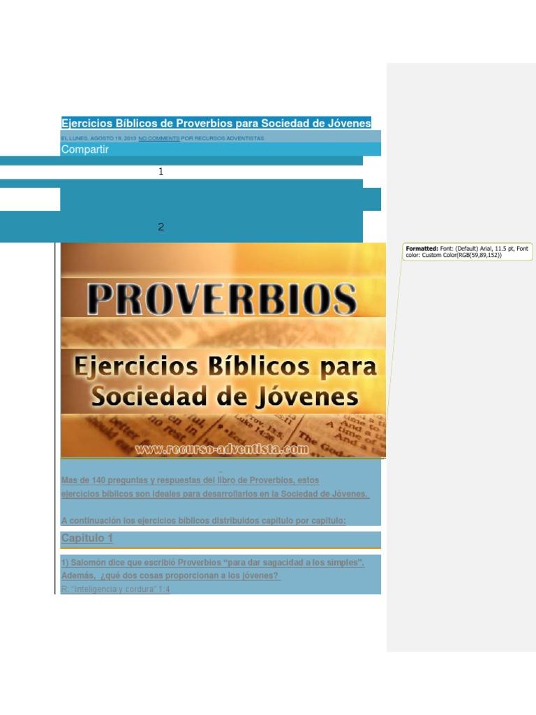 Ejercicios Biblicos De Proverbios Para Sociedad De Jovenes