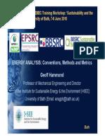 Energy Analysis Conventions Methods