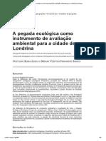 A pegada ecológica como instrumento de avaliação ambiental para a cidade de Londrina